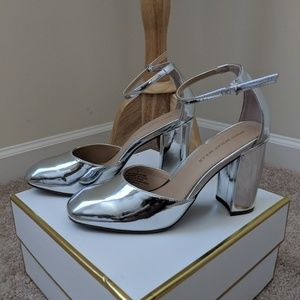 Patent Leather Silver Ankle Strap Block Heel